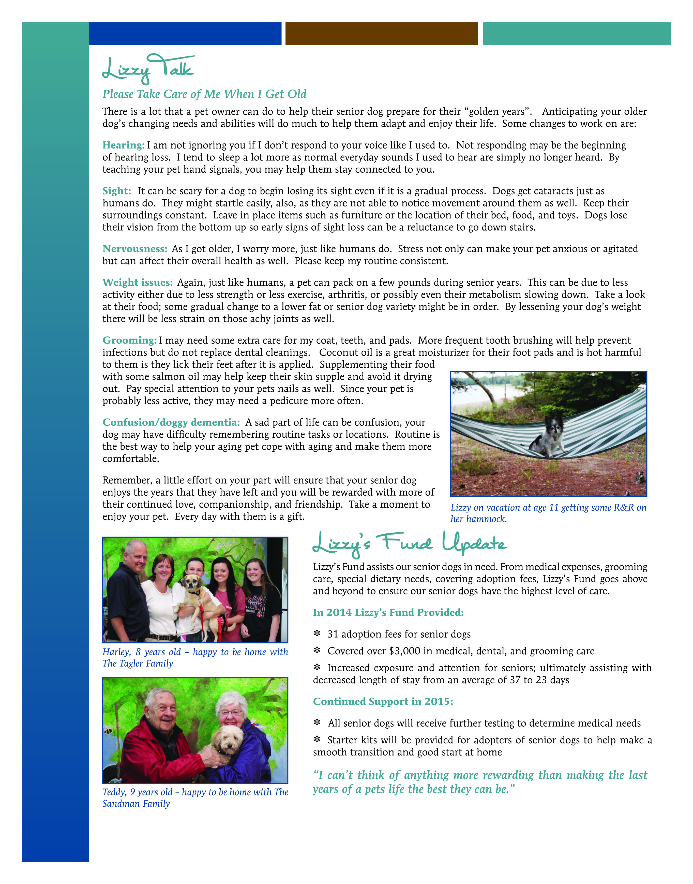 NAHS Fall 2015 Newsletter Lizzy Talk R